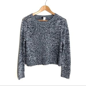 H&M DIVIDED Small Blue Marled Cropped Sweater Top